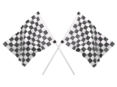 Crossed twin checkered flags isolated on a white background. Zdjęcie Seryjne