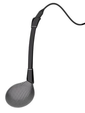 Estilo micrófono nota musical aislado en un fondo blanco. Foto de archivo - 57296182