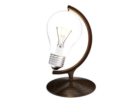 Idea lightbulb globe isolated on a white background. Banco de Imagens