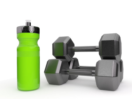 Dumbbells and water bottle isolated on a white background.