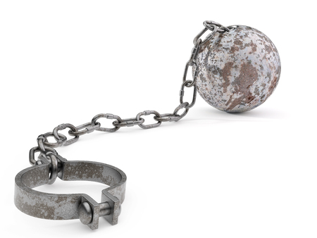 inmate: Rusty ball and chain isolated on a white background. Stock Photo
