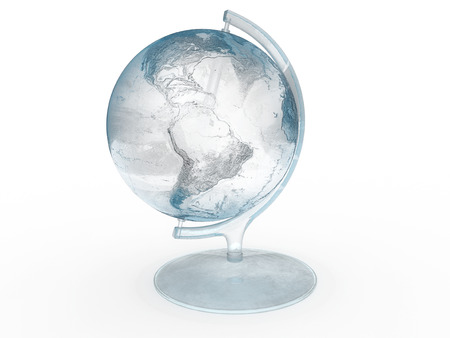Globe made of ice isolated on a white background.