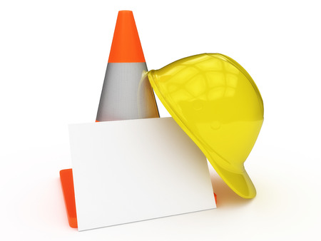 Caution cone with hard hat and blank card isolated on a white background.