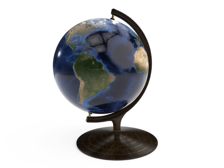 Detailed earth globe isolated on a white background.