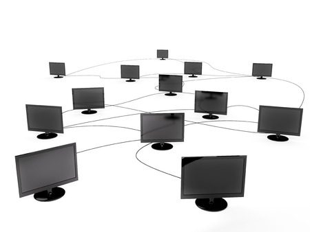 Connected computer monitors isolated on a white background.