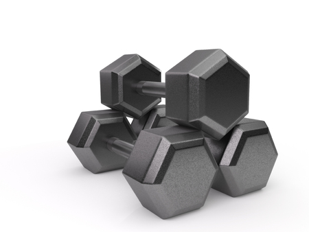 Three dumbbells stacked and isolated on a white background.