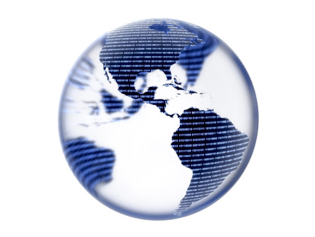 Glass globe with binary digital continents isolated on a white background. Banco de Imagens