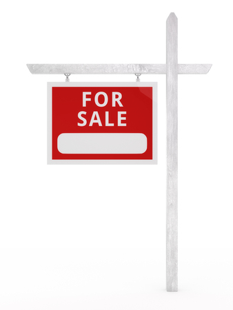Isolated for sale sign on a white background.