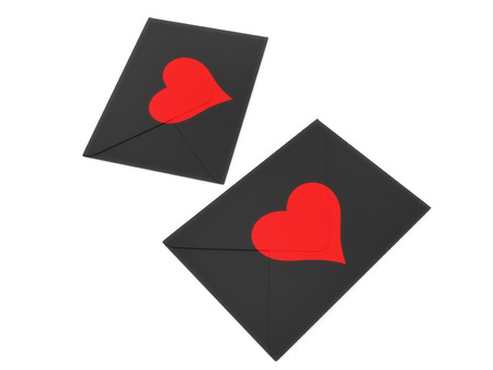 Dark envelope with red heart stamp isolated on white background.