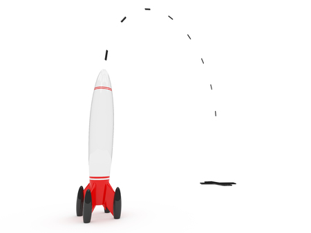 Rocket and flight path isolated on a white background.