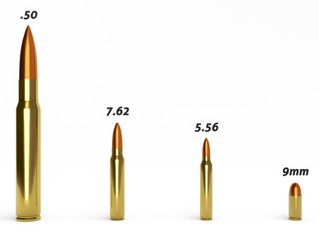 full jacket bullet: Several different calibers of ammunition isolated on a white background. Stock Photo