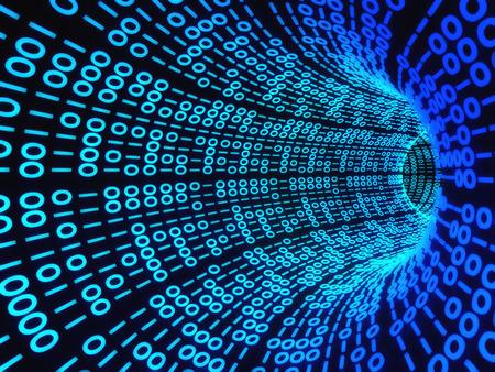 デジタル バイナリ コンピューター コードのねじれのトンネル。