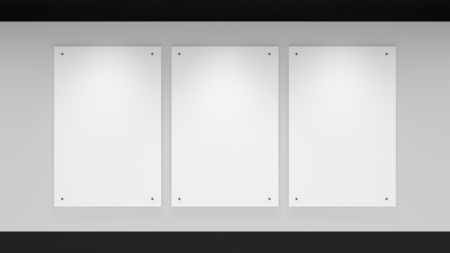 subtly: Subtly lit 3 panel gallery wall with dark trim. Stock Photo