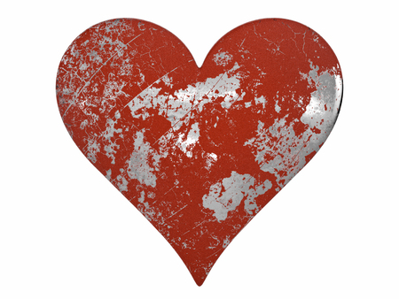 Chipped and Scratched Painted Metal Heart isolated on a white background. Banco de Imagens