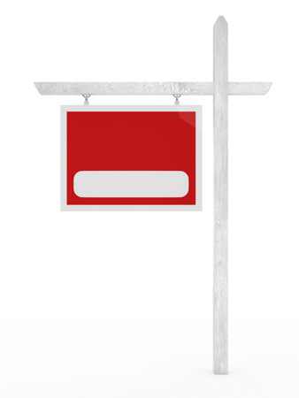 Isolated blank for sale sign on a white background. Banco de Imagens