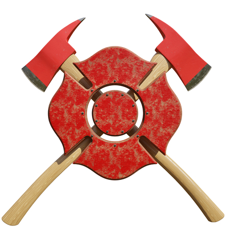 Crossed fire axes behind firefighting symbol isolated on a white background.