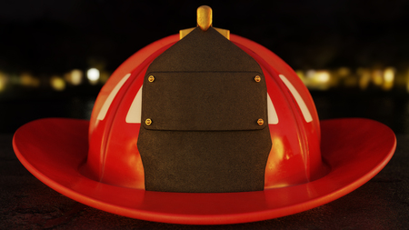 Closeup of blank firefighter helmet shield set on asphalt with city lights in the background. Фото со стока