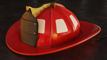 Blank firefighter helmet resting on pacement at night. Фото со стока