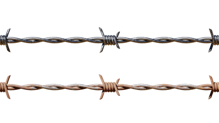 Isolated repeating barbed wire pattern in both clean and rusty version.