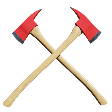 Pair of crossed firefighter axes isolated in front of a white background. Фото со стока