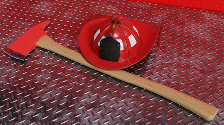 A fire axe and helmet on the front of a fire engine diamond plate bumper.
