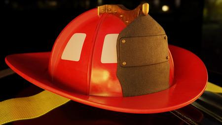 Fireman helmet resting on a firefighter jacket in a dark flame lit scene. Banco de Imagens