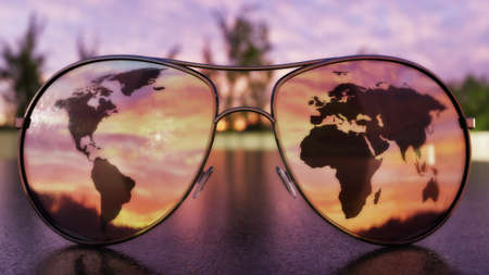 Sunglasses on a dark surface during sunrisesunset with a reflection of a world map in the lenses. 3D Illustration Zdjęcie Seryjne