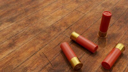 Several shotgun shells on rustic wooden background. 3D Illustration