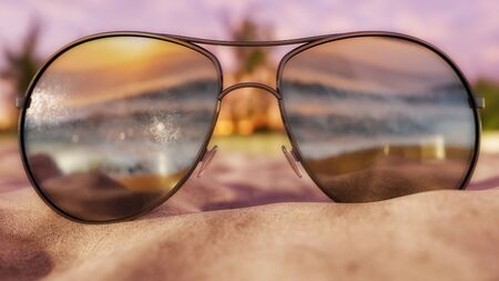 Subglasses partially buriend on sandy beach during sunrisesunset. 3D Illustration