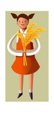 Portrait of girl holding grain stalks Stock Vector - 15786147