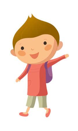 school bag: Ritratto di ragazzo felice con il sacchetto di scuola Vettoriali