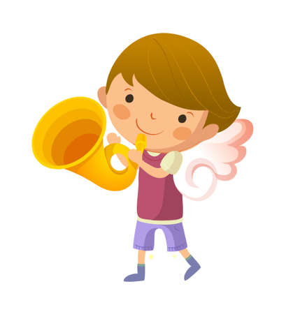 Boy with angel wings and holding trumpet Vector