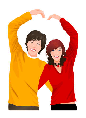 adult only: Close-up of couple making a heart symbol with their hands  Illustration