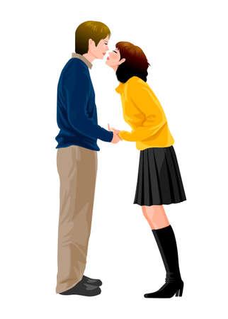 innamorati che si baciano: Coppia giovane baciare Vettoriali