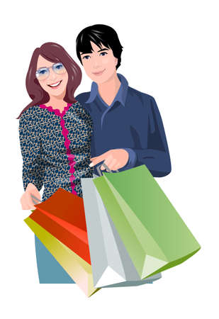 Couple with shopping bags Stock Vector - 15823204