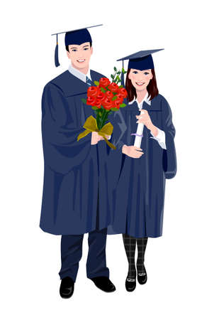 young woman and a young man wearing graduation outfits Vector
