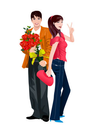 Young couple showing peace sign with hand Vector