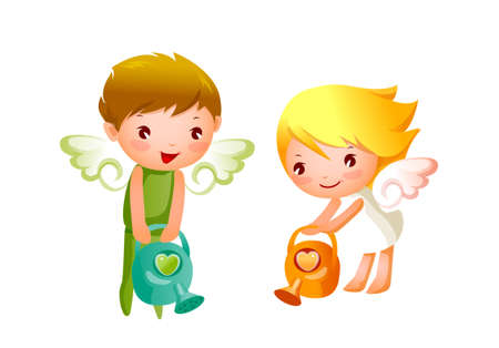 Boy and Girl angels watering  Stock Vector - 15823229