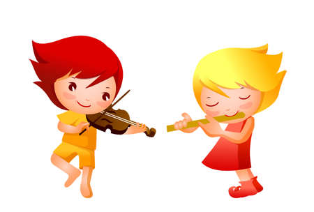 Boy and Girl playing musical instrument Illustration