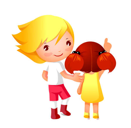 Portrait of Boy and Girl  Vector