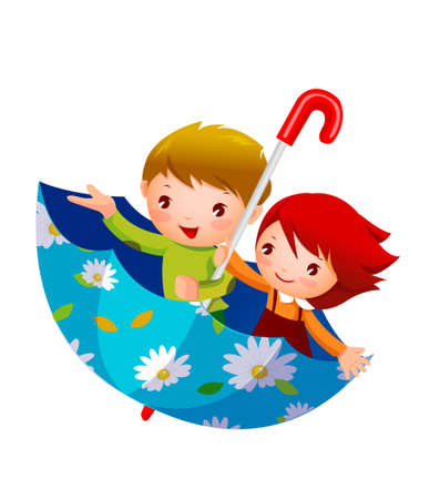 Boy and Girl in umbrella Illustration