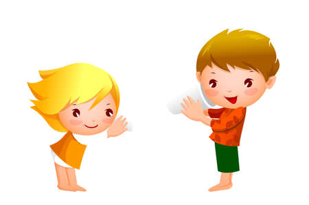 Boy and Girl playing with tin can telephone Stock Vector - 15822309