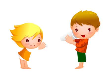 actief luisteren: Jongen en meisje spelen met tin kan telefoneren