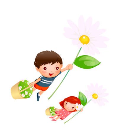 Boy and Girl flying with flowers Stock Vector - 15823172
