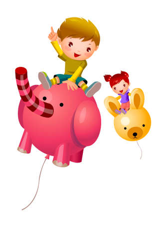 Boy and Girl sitting on balloon Vector
