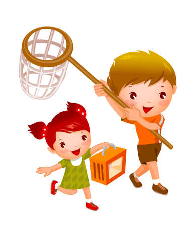 Boy and Girl with fishing net and picnic basket Illustration