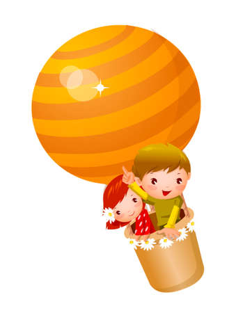 Boy and Girl travelling in hot air balloon Vector