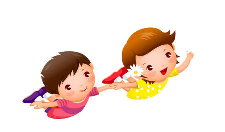 Boy and Girl flying holding hands Vector