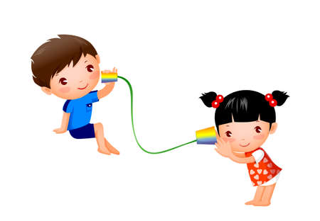 Boy and Girl playing with tin can telephone Vector