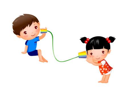 photo artistique: Gar�on et fille jouant avec de l'�tain peut t�l�phoner
